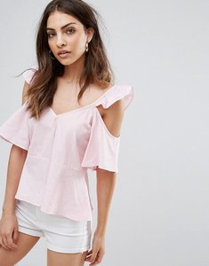 Read more about Influence cold shoulder ruffle shoulder cami - pink white stripe