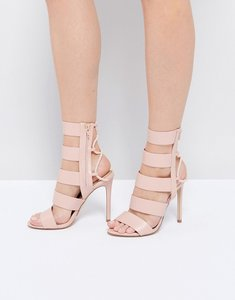 Read more about Aldo hawaii pink lace back heeled strappy sandals - 55 light pink