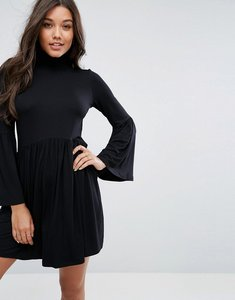 Read more about Asos polo neck smock dress with trumpet sleeves - black