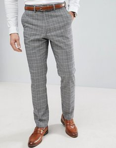 Read more about French connection prince of wales blue check slim fit suit trousers - grey