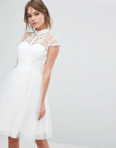 Read more about Chi chi london mini tulle skater dress with lace collar - ivory