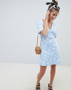 Read more about Asos design star and heart print button through tea dress - star heart print