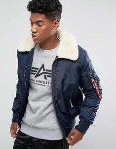 Read more about Alpha industries bomber jacket shearling collar in navy - rep blue