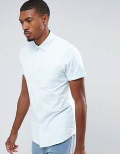 Read more about Asos casual slim oxford shirt with stretchin pale blue - blue