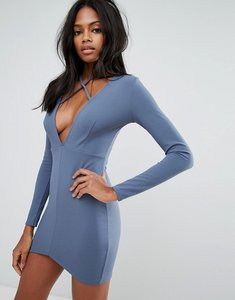 Read more about Missguided blue tie neck plunge long sleeve bodycon dress - blue