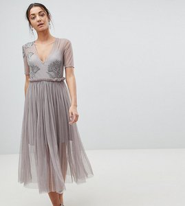 Read more about Asos tall embellished deep plunge mesh midi dress with delicate beading - grey