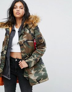 Read more about Alpha industries camo polar parka jacket with faux fur hood - woodland camo