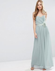Read more about Asos wedding chiffon bandeau maxi dress with detachable corsage - silver