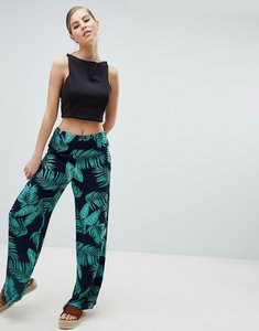 Read more about Ax paris palm print relaxed trousers - navy