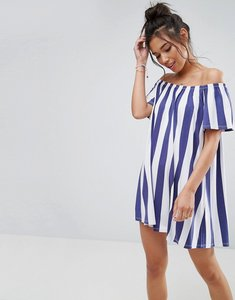 Read more about Asos off shoulder sundress in deckchair stripe - navy white stripe