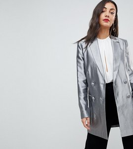Read more about Asos tall longline blazer in metallic - silver