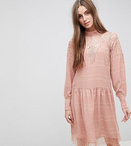 Read more about Y a s tall lace detail skater dress - rose