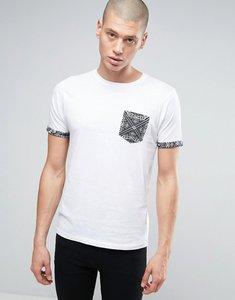 Read more about Brave soul skull print pocket t-shirt - white