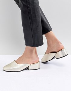 Read more about Selected leather metallic mule - gold