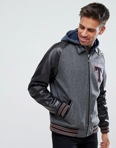 Read more about Asos leather varsity jacket with applique in black - black