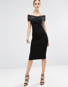 Read more about Asos cross front lace bardot midi bodycon dress - black