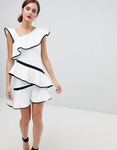 Read more about Asos design mono tipped ruffle mini dress - white