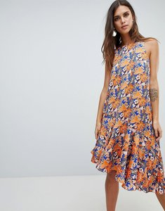 Read more about Y a s floral print asymetric dress with ruffle hem - multi