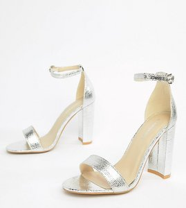0060e61f295 Read more about Glamorous wide fit silver barely there block heeled sandals  - silver