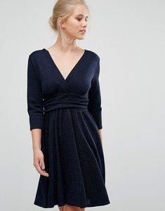 Read more about Closet 3 4 length sleeve chevron textured dress - navy