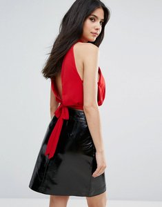 Read more about Love high neck top with tie back - red