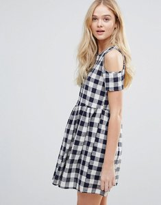 Read more about Qed london cold shoulder gingham smock dress - navy cream