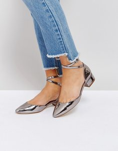 Read more about London rebel block heeled shoe with ankle straps - hishine pewter