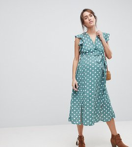 Read more about Glamorous bloom sleeveless midi dress with flutter sleeves in polka dot - green polka dot