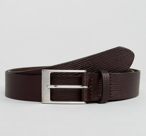 Read more about Asos smart slim belt in brown leather with saffiano emboss - brown
