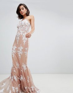 Read more about City goddess strapless sequin embroidered maxi dress - tan
