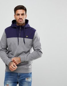 Read more about Lyle scott 1 4 zip hoodie with colour block in grey marl - mid grey marl