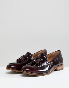 Read more about H by hudson leather tassle flat shoes - burgundy