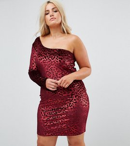 Read more about Naanaa plus one shoulder bodycon dress in velvet leopard - red