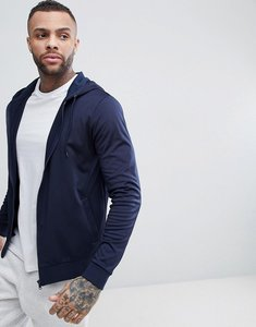 Read more about Asos zip up hoodie in navy poly tricot - navy