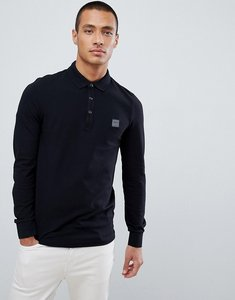 Read more about Boss passerby slim fit long sleeve logo polo in black - black