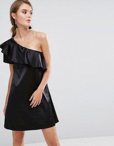 Read more about Rage one shoulder satin frill dress - black satin
