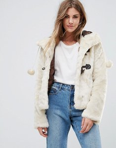 Read more about Urban bliss hooded faux fur jacket with pom poms - cream