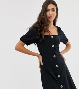 Read more about Asos design tall slubby mini tea dress with faux shell buttons
