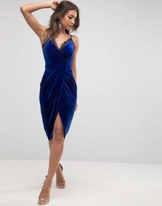 Read more about Asos velvet wrap midi dress with lace trim - cobalt blue
