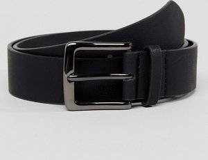 Read more about Asos wide belt in black pebble grain faux leather and gunmetal buckle - black