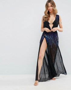 Read more about Asos beach sequin plunge split side maxi dress - black purple