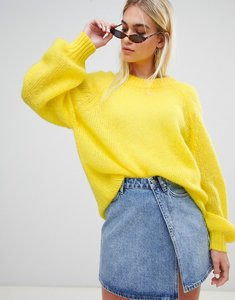 Read more about Weekday balloon sleeve open weave knit jumper - light yellow