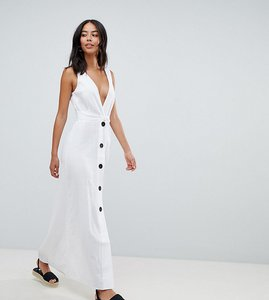 Read more about Asos design tall plunge city maxi dress with button front detail - white