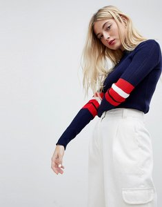 Read more about Daisy street knitted jumper with sports stripe - navy