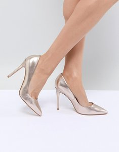 Read more about Faith chloe rose gold pointed heeled shoes - rose gold
