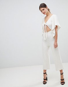 Read more about Asos design tie front kimono sleeve jumpsuit in slouchy textured fabric - cream