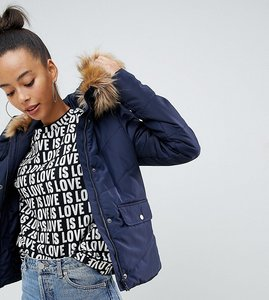 Read more about Noisy may tall faux fur padded parka - navy