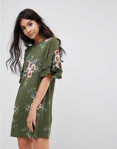 Read more about Parisian floral shift dress with flare sleeve - khaki