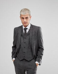 Read more about Asos skinny suit jacket in grey houndstooth - grey
