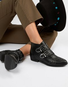 Read more about Pimkie studded buckle ankle boots - black